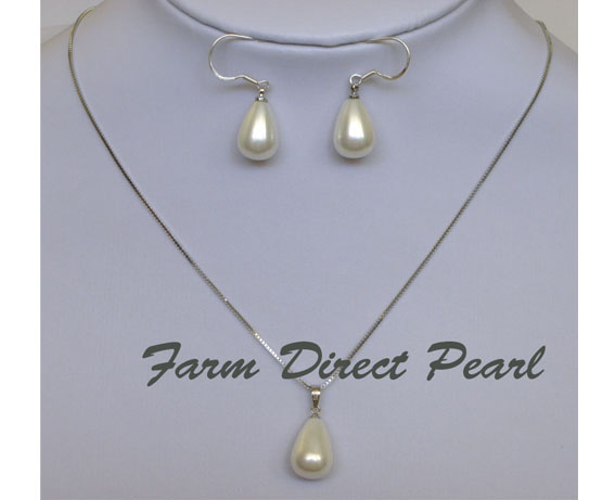 Sterling Silver 18 Teardrop Sea S Pearl Pendant Necklace Earrings Set Br